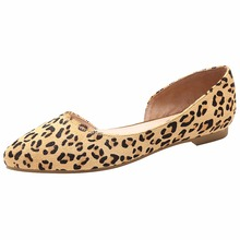 Jamron Women Flat Heel Evening Dress Party Shoes Sexy Leopard O'rsay & Two-Piece Pumps