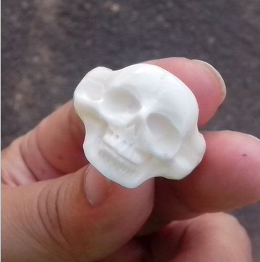 Size 8 Head Skull Carved in Buffalo Bone Carving Ring 60002931