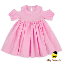 New Model Design Summer Children Off Shoulder Plain Pink Little Girl Rustic Girl Daily Wear Dress