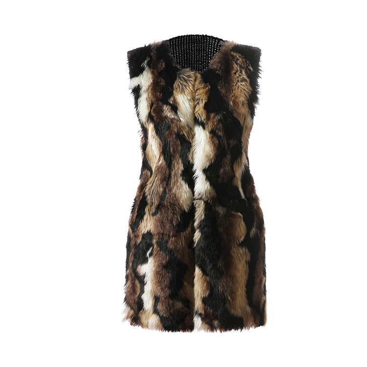 High quality multi color long fur vest women