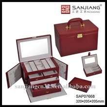 Fancy wooden gift jewelry case, PU leather jewelry case with standing mirror