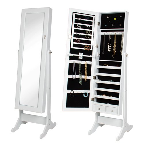 Wooden large locking mirrored jewelry cabinet armoire with stand