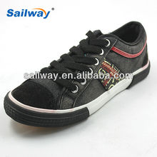 wenzhou black and red upper wash canvas fashion lace up vulcanized footwear