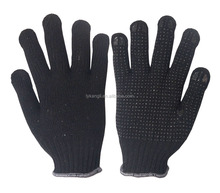 white cotton work glove with rubber grip dots,PVC dotted cotton glove