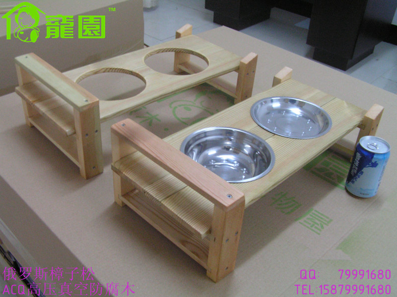 Home & Garden Pet Products Accessories Wooden Freestanding Pet dog cat Dining Table Double Stainless steel #304 Bowls