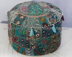 Indian Vintage Ottoman Patchwork Pouf Cotton Throw Round Foot Stool Cover 12 X 16 ""