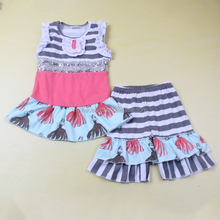 Baby outfits for kids beauty lady print stripe baby clothes set 2 piece outfit summer