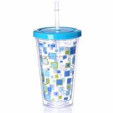 Wholesale High Quality Drinking Plastic Cup With Lid And Straw