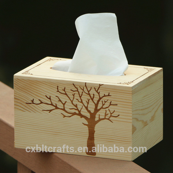 High quality environmental protection wooden hollow carving tissue box