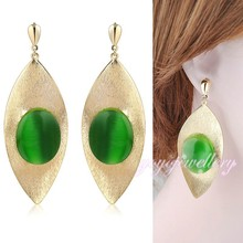 designer one piece party dress charm green cats eye leaf shape gold plated latest fashion earring