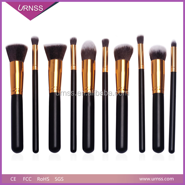 10pcs Beauty make up brush kit with good quality cosmetic bag