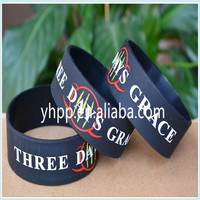 "Custom THREE DAYS GRACE Silicone 1"" Wide Debossed Filled in Colour Wristband Bracelet"
