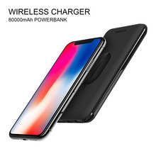 2 In 1 Dual Usb 8000Mah Qi Wireless Charger Power Bank With Led And Digital Capacity Display