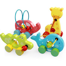 Montessori Material Cartoon Animals Wooden Around The Bead Car Toys Educational Toy For Kids