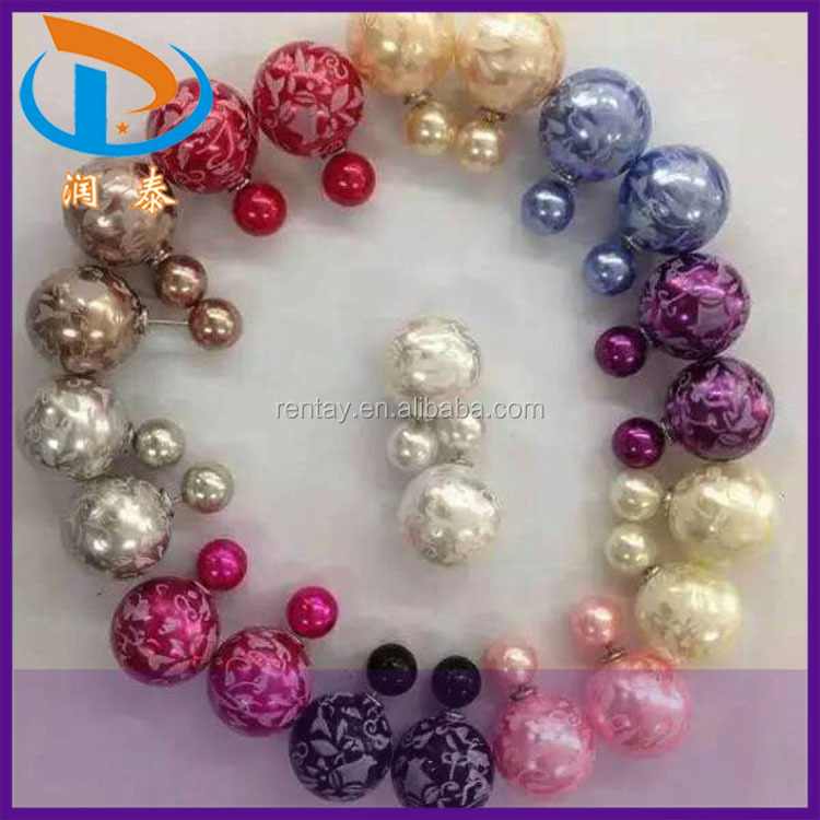 Hot Sale New Arrival Front and Back Lady Print Flower Plastic Jewelry Stud Pearl Earrings