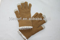 Fashion soft warm plain customized touch screen hand gloves for all Smartphones and Tablets PC (JDG-S5B)