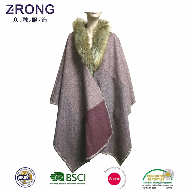 Winter good thermal performance polyester cappa,pashmina cape,women cape shawl with fake fur collar