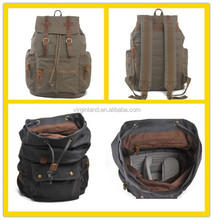 1039 European School Teenage Casual Canvas Camera Laptop Backpack with Detachable Compartment