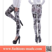 Beauty Poll Newspaper Printed Legging