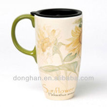 2012 new style ceramic Beer Mug with plastic lid