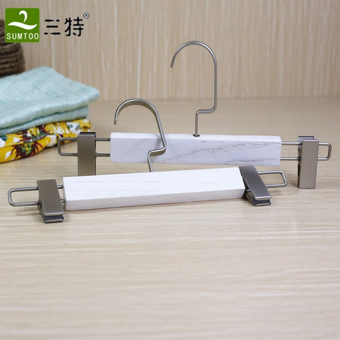 white wood multi pants hanger with flat clips