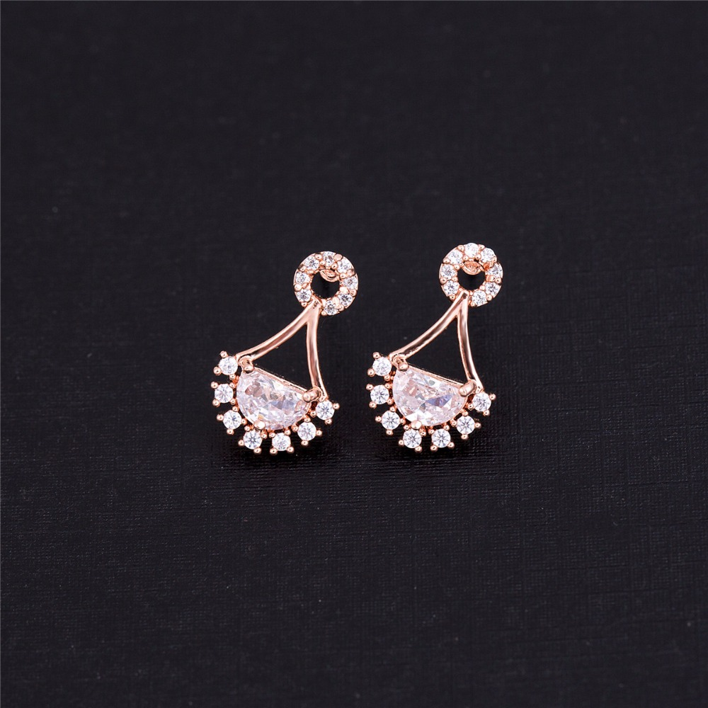 Beautiful Half Circle Shape Cubic Crystal Zircon Stud Earrings