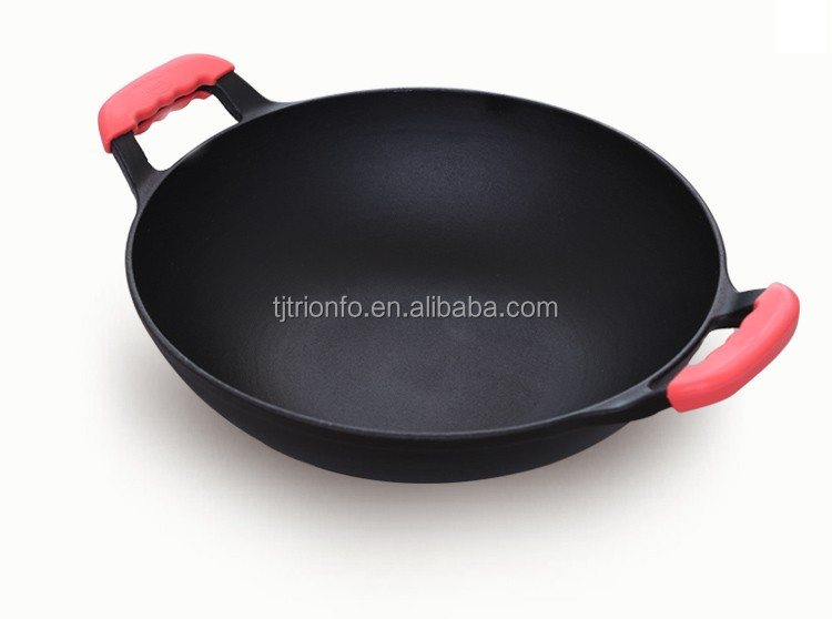 TRIONFO two ears wooden lid cast iron Chinese big wok