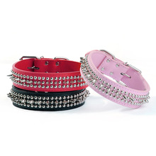 Wholesale Small Dog Collar PU Leather Studded Spiked collar Pet Puppy 5 Colors 3 Sizes S M L