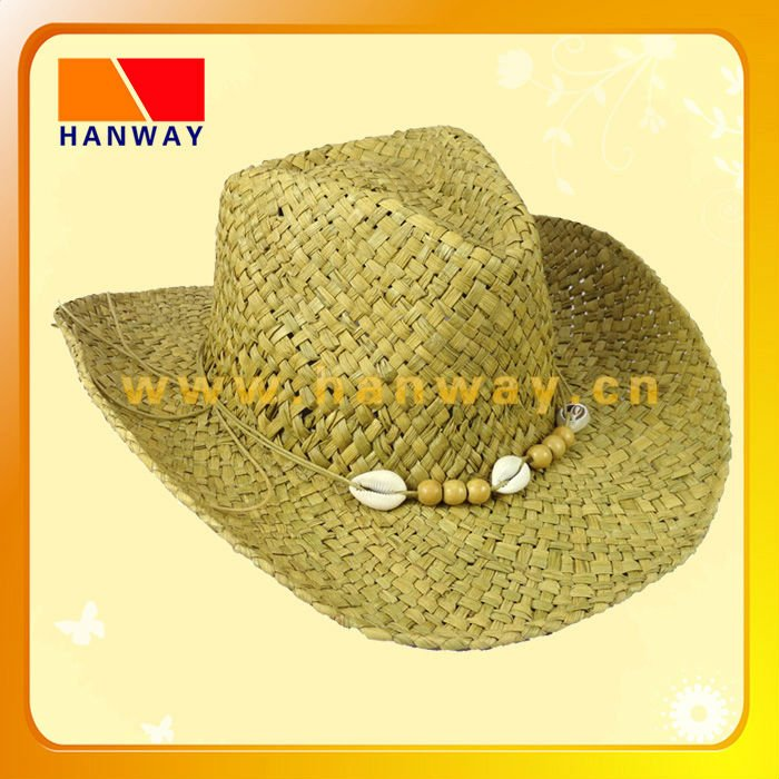 wholesale rhinestone cowboy hats made from raffia straw with beads for trim