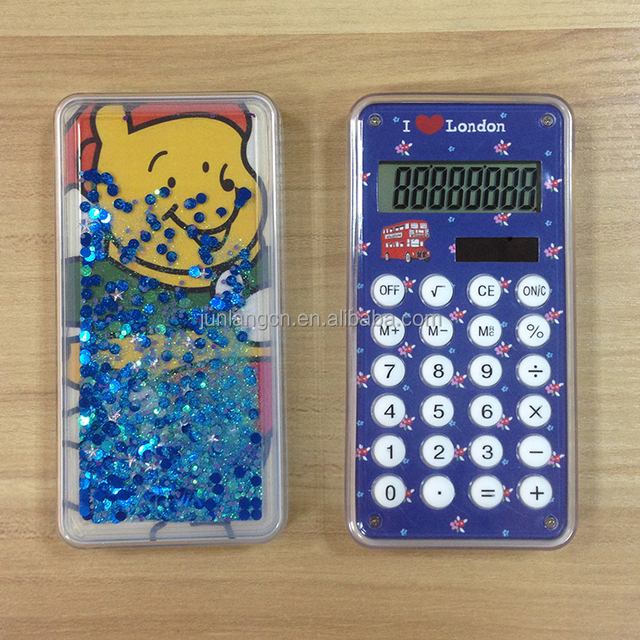 promotional gift quicksand product dazzling colourful calculator
