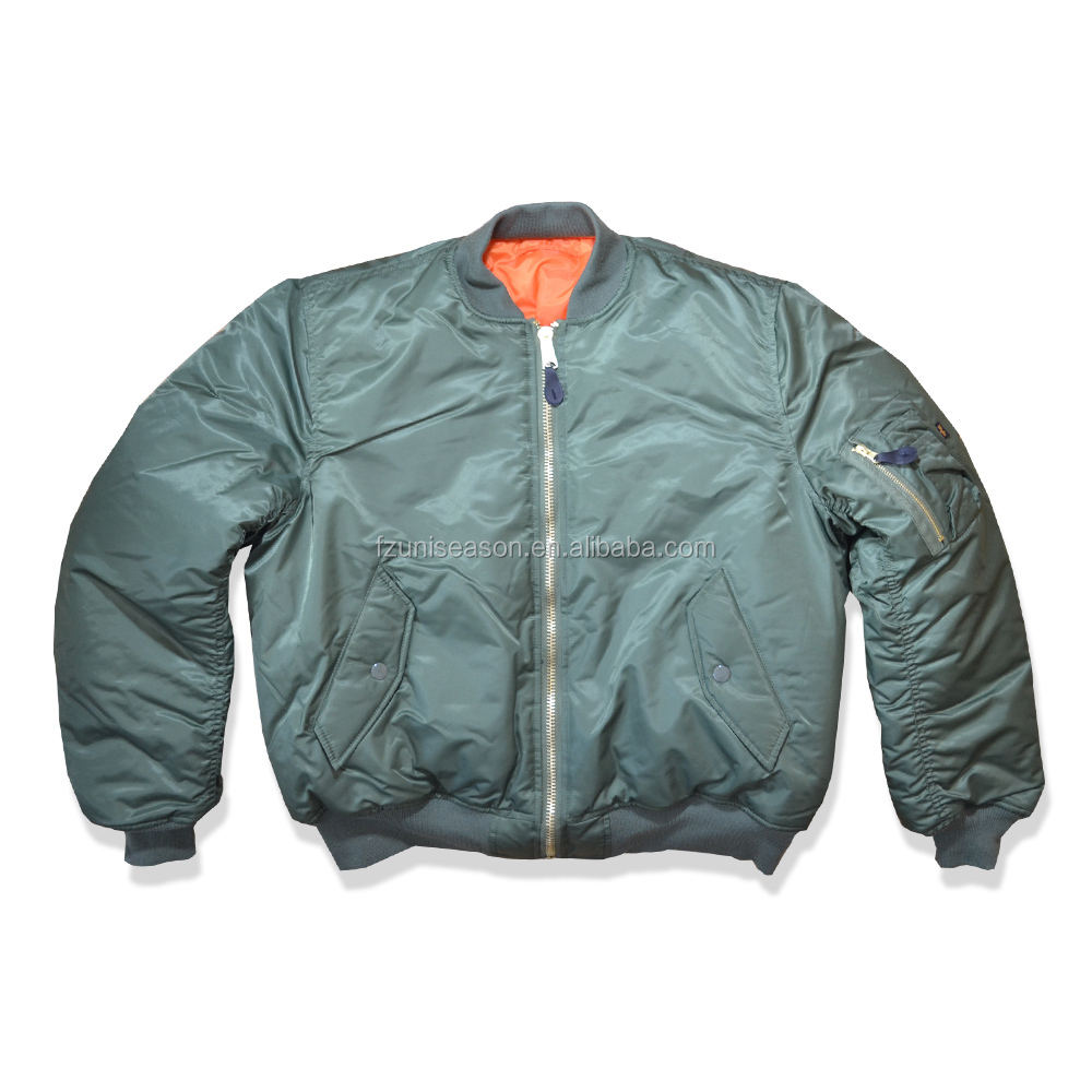 Nice design sage green men satin bomber jacket reversible