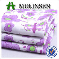 Mulinsen Textile Woven 40s Poplin Purple Butterfly And Floral Printed Wholesale Fabric Cotton