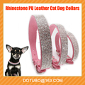 11Colours Bling Rhinestone Pet Dog Collar Adjustable PU Leather Buckle Cute Crystal Puppy Cats Kitten Necklace Collar 7 Sizes