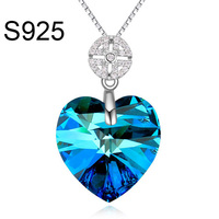 Fashion heart shape Made With Swarovski Element crystal S 925 necklace jewelry silver