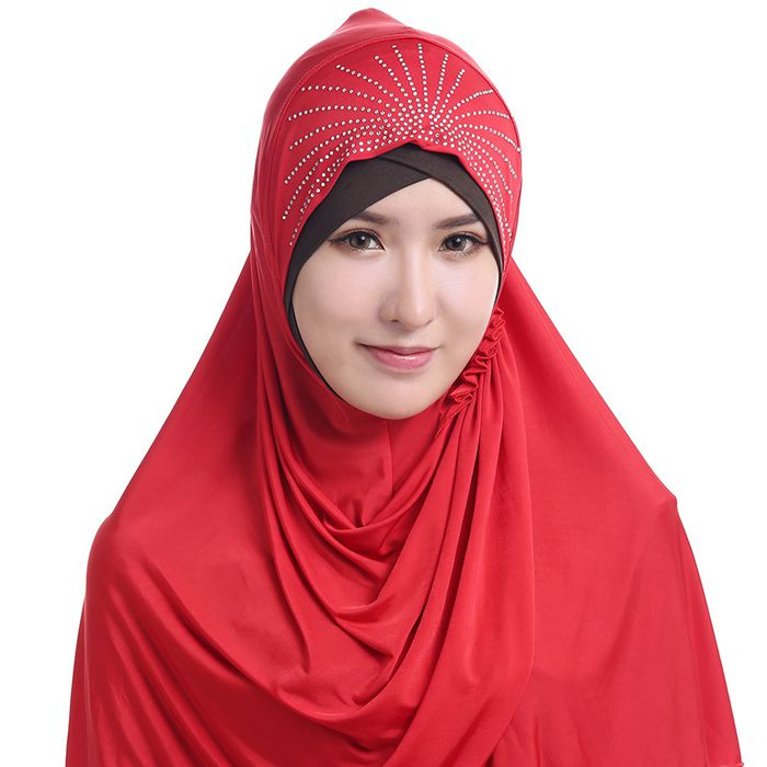 Hot selling malaysia instant jersey printed stone islamic dress muslim arabic hijab scarf