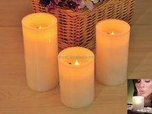 3 Pieces Amber Flickering Flame Mood Lights Real Wax Blow ON-OFF LED Candles