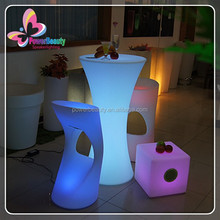 China supplier 16 colors rechargeable plastic led glowing bar table,long bar table