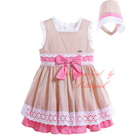 Summer New Infant Dress With hat Sleeveless Girls Birthday Dresses Fashion Cotton Baby Kids Clothes