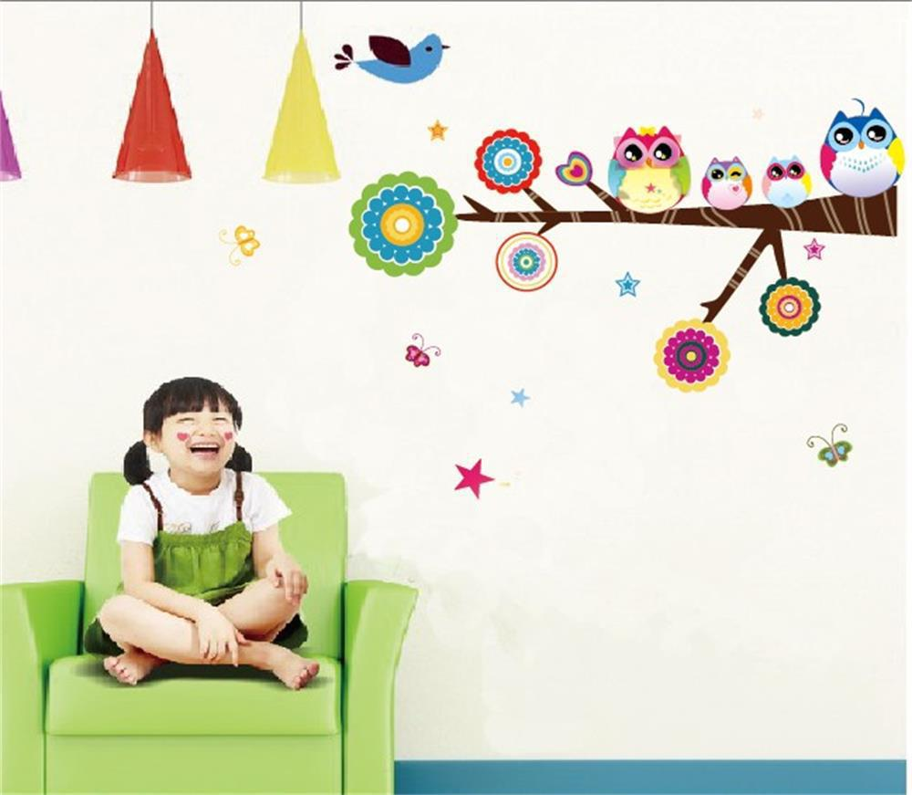 2016 Cute Colorful Owl Family Branch Butterfly PVC Wall Stickers Decal Decor for Kids rooms
