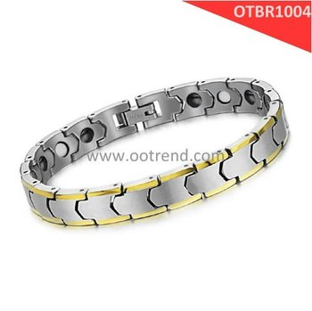 Trendy Tungsten Bracelet for men,inlay energy magnetic stone or germanium tablets could be customized