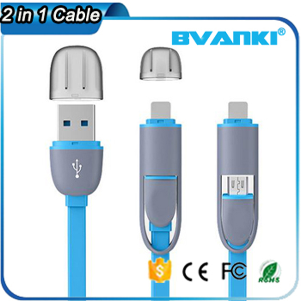 Best Selling Imports Wholesale Price Colorful USB Charging Cable,Micro & Lighting Wire Charger 2 In 1 USB Cable