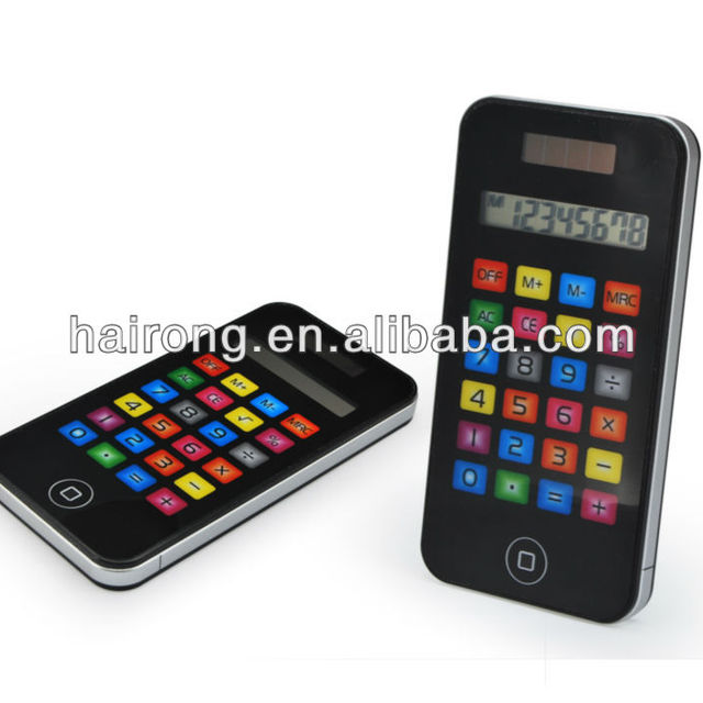 HaiRong factory Smooth touching 8 digits calculator with cell phone shape
