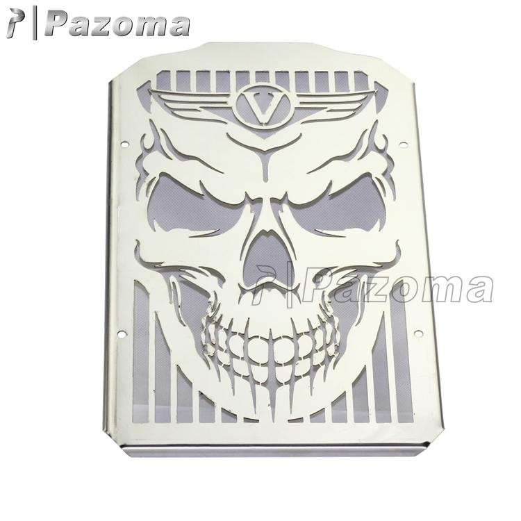 Chrome Skull Face Stainless Steel Radiator Guard Cover For Kawasaki VN900 Vulcan Classic/Custom