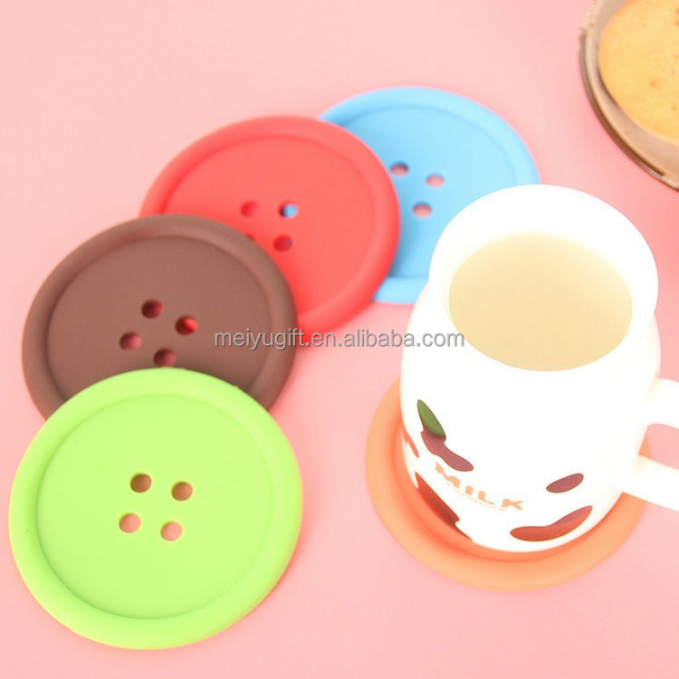 BPA free non-toxic button shape silicone coaster / soft silicone cup mat for table heat resisting
