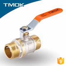 TMOK supplier full bore ball valve butterfly/single long handle brass stem pn16 water nickle plated brass ball valve