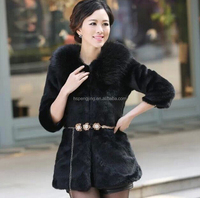 Noble and beautiful fashion favorite faux fox fur women winter dinner jacket coat overcoat