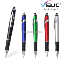 Unique designed stylus ball pen with wave rubber barrel and metal ring