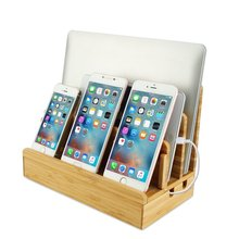 Wood bamboo Desktop Cord Mobile Phone Charging Stand holder with 3 Slots for Smart Phones