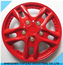 ABS/PP red paint treatment swift car center wheel cover with stainless steel ring