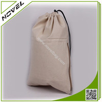 Organic Drawstring Cotton Bag with Side Zipper